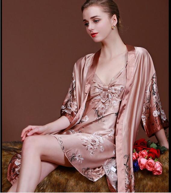 Elegant Women Robe Gown Set  Faux Silky smooth Robe Satin Sleepwear Home Suit Night Sleep Comfortable Bathrobe Set sexy Pajamas