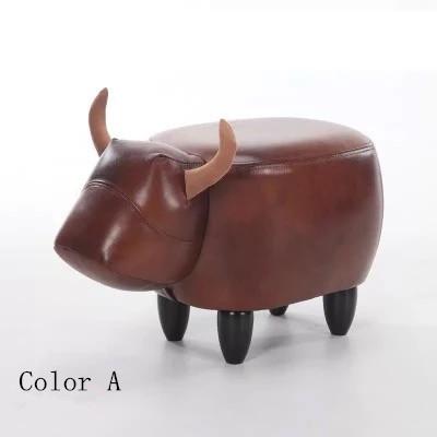 Original Genuine Leater Cadeira para sapatos escabelo pufe de modelagem crianças assento fezes fezes fezes de estiva dos desenhos animados sofá fezes
