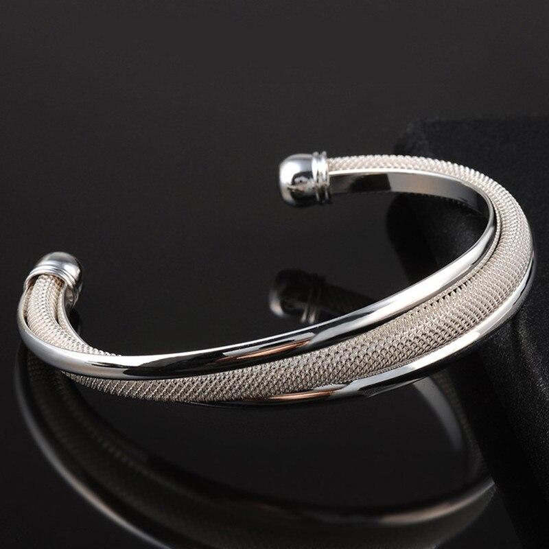 Le nouveau bracelet tissé Net ouvert dame bracelet pur cuivre dame bracelet taille 6.3 cm 2018