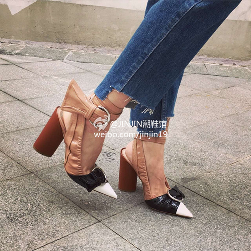 Fashion 2017 Pointed Toe High brand Sandals Ankle Strappy Buckle Brand Women Sandals Celebrity Street Style Summer Shoes Woman