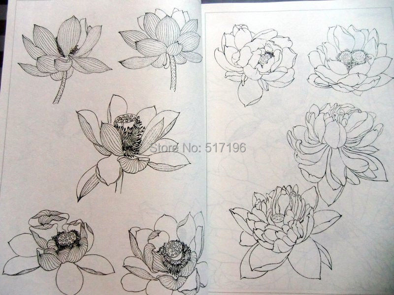 Tattoo book lotus flower line drawing chinese painting tattoo flash 2014 new 1pcs chinese stencil painting book small photos flower skull koi fish scorpion a4 tattoo drawing books free shipping mightylinksfo