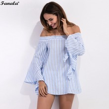 FANLA Strip Blouse Shirt Butterfly Sleeve Casual Summer Plus Size Lady Cute Sexy Long Sleeve Shirt Blouse Blusas Female #50-45