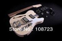 Для сборки электрогитары комплект полуакустическая Дека F Болт отверстия на гриф из красного дерева Thinline Deluxe