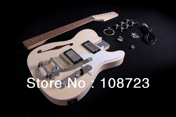 DIY Electric Guitar Kit Semi Hollow Body F Hole Bolt On  Mahogany Neck Thinline Deluxe brief lace pattern round collar striped half sleeve t shirt for women