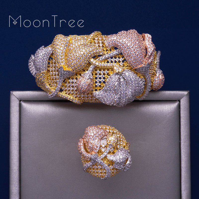 MonnTree Begonia Flowers Luxury 3 Tone SunFlower Full AAA Cubic Zirconia Jewelry Sets Women Party Gifts