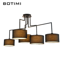 BOTIMI American Country Style Cloth Ceiling Lights With Fabric Lampshade White Black Lighting For Dining Living Room Bedroom