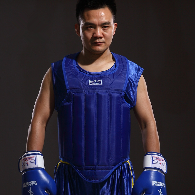 High quality Red Blue color MMA chest guard kick boxing fighting muay Thai Boxing back support taekwondo chest protector vest