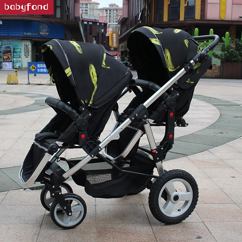 цена на Babyfond twin baby stroller pusher can be light and easy to sit in a double trolley with folding baby cars micky minie baby car