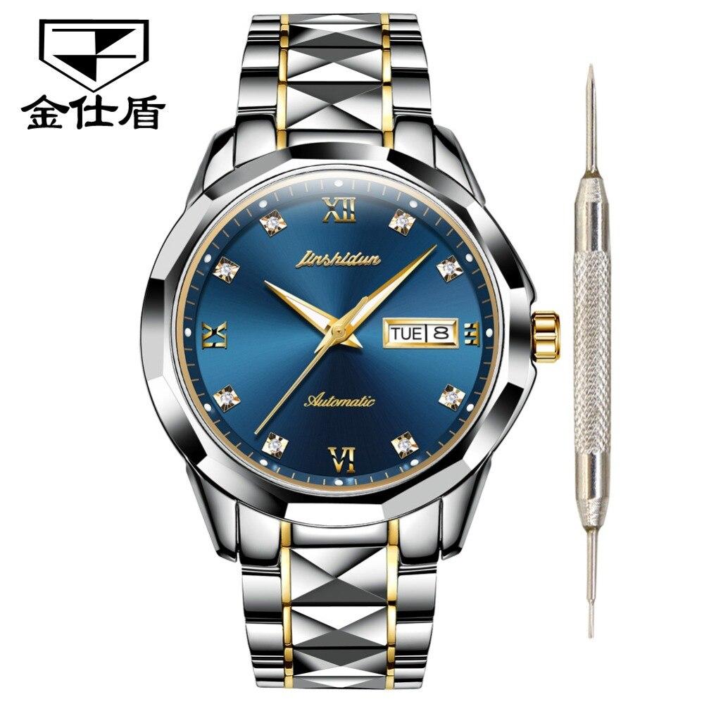 JSDUN Top Brand Luxury Watch Men Automatic Mechanical Men s Watches waterproof black Tungsten steel Fashion