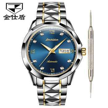 JSDUN Top Brand Luxury Watch Men Automatic Mechanical Men's Watches waterproof black Tungsten steel Fashion Roman Male Clock NEW