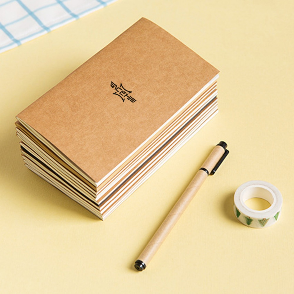 ACEHE Standard Kraft Paper Notebook Diary Journal Traveler Notepad Planner Business Study School Office Stationery Supplies high quality pu cover a5 notebook journal buckle loose leaf planner diary business buckle notebook business office school gift