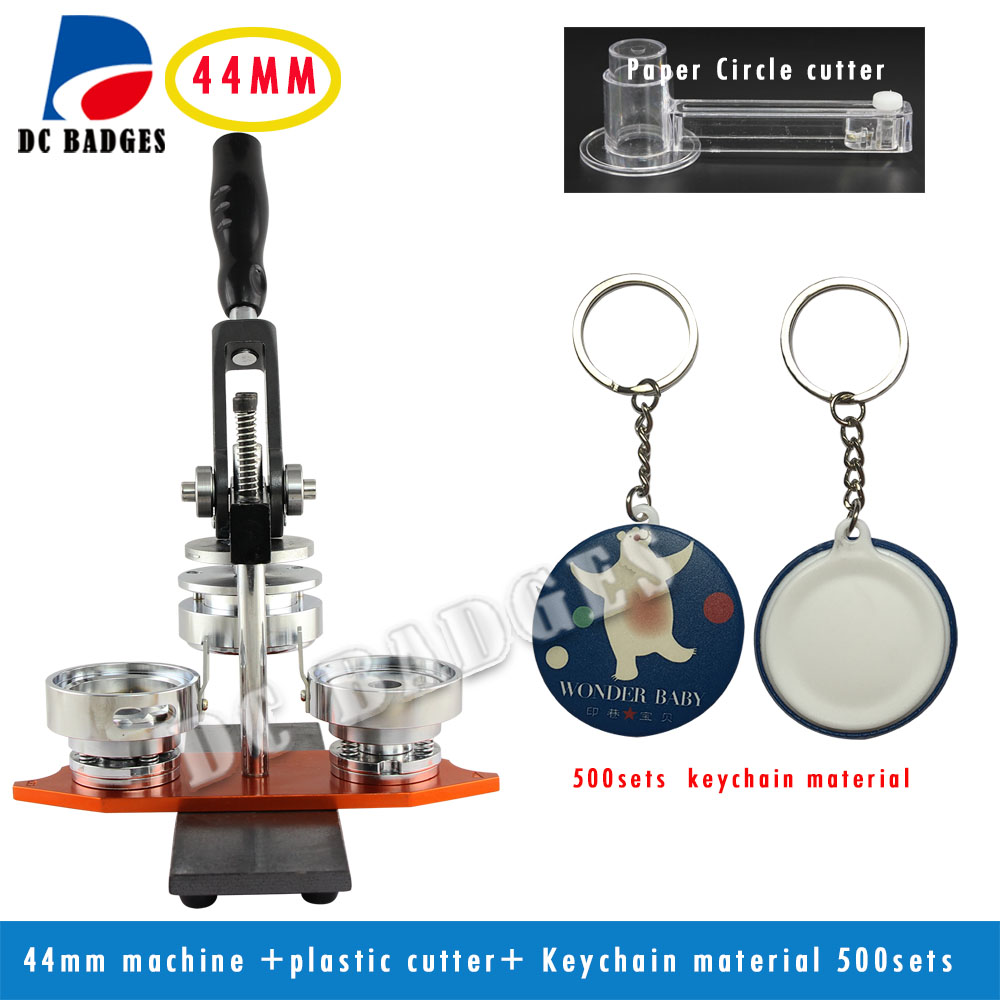 1 3/4 44mm Button Maker Machine Set +Circle Cutter+500 Sets Keychain Buttons Material