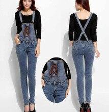 Джинсы женщин комбинезоны плюс размер 2016 Новая Мода Хлопок эластичность, босоножки, Синие джинсы Женские Повседневные Тощий джинсовые комбинезоны брюки