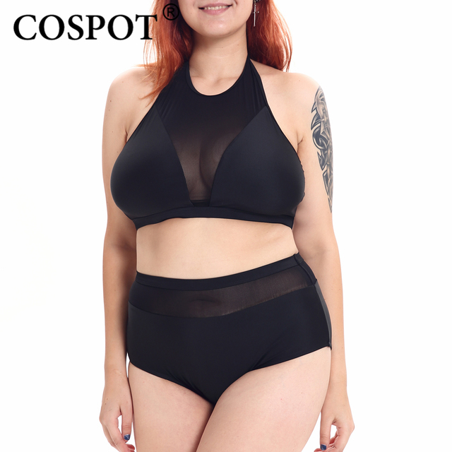 8f6c77fdfbe COSPOT Women Swimsuit Plus Size Black Mesh High Neck Halter High Waist  Bikini Set Bathing Push Up Tank Top Suit Set Two Piece