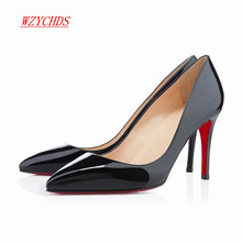 WZYCHDS Top Quality  Women Shoes Red Bottom High Heels Sexy Pointed Toe Red Sole Wedding Shoes Chaussure Escarpins Semelle 9cm