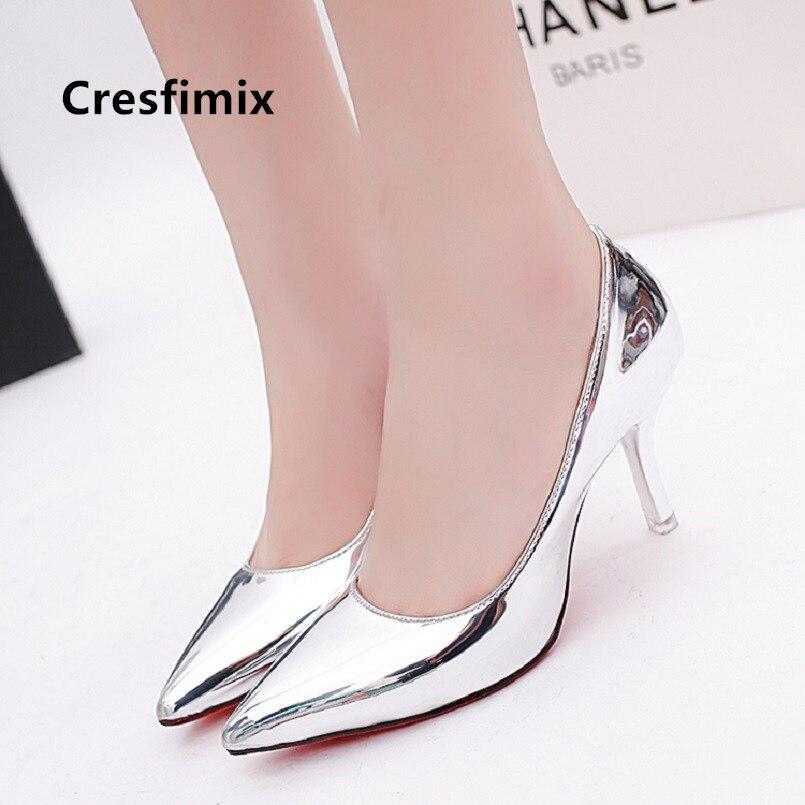 Cresfimix femmes hauts talons femmes mode argent bout pointu chaussures à talons hauts dame chaussures décontractées bureau pompes à talons hauts a5044