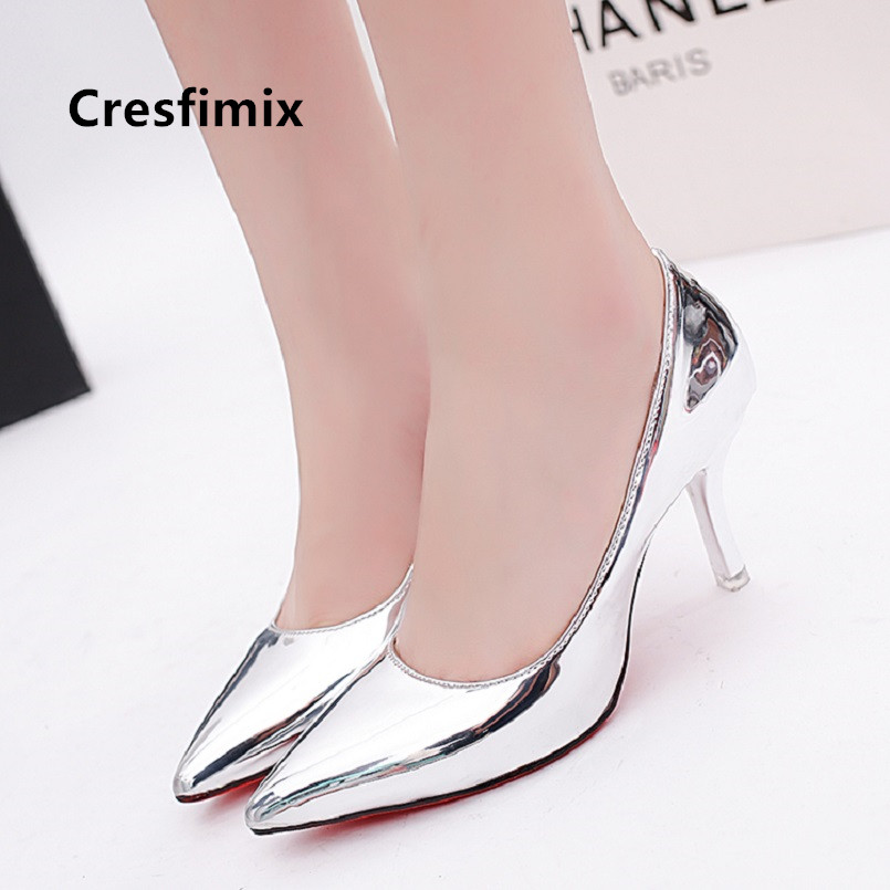Cresfimix Femmes Hauts Talons Women Fashion Silver Pointed Toe High Heel Shoes Lady Casual Shoes Office High Heel Pumps A5044