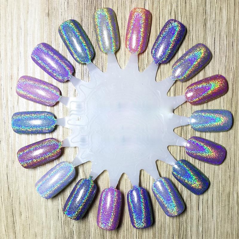 Colorful Pigment Nail Powder Plating Laser Rainbow Powder Nail Art Decal Nail Glitter Dust DIY Nail Chrome Makeup Beauty Kit N15