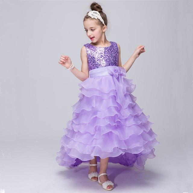 Elegant Ruched Flower Girl Dress For Weddings Trailing Lace Dresses  Princess Sequin Tutu Dresses For Girls Kids Vestido Clothes acd6657717cd