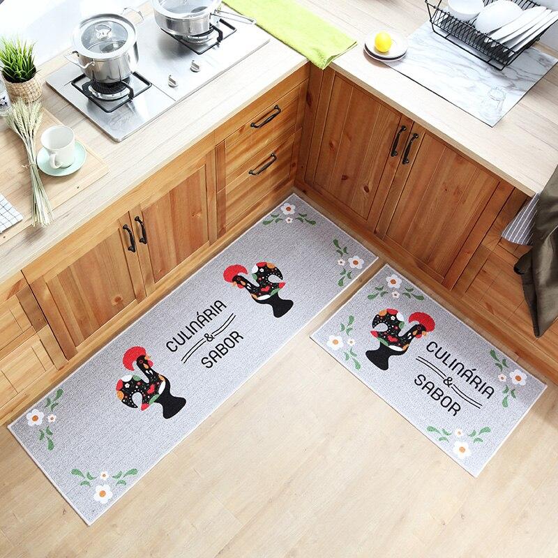 50x80 CM + 50x160 CM dessin animé chinois modèle de coq 2 pièces tapis de sol de cuisine lavable en Machine Polyester coton Long tapis de cuisine