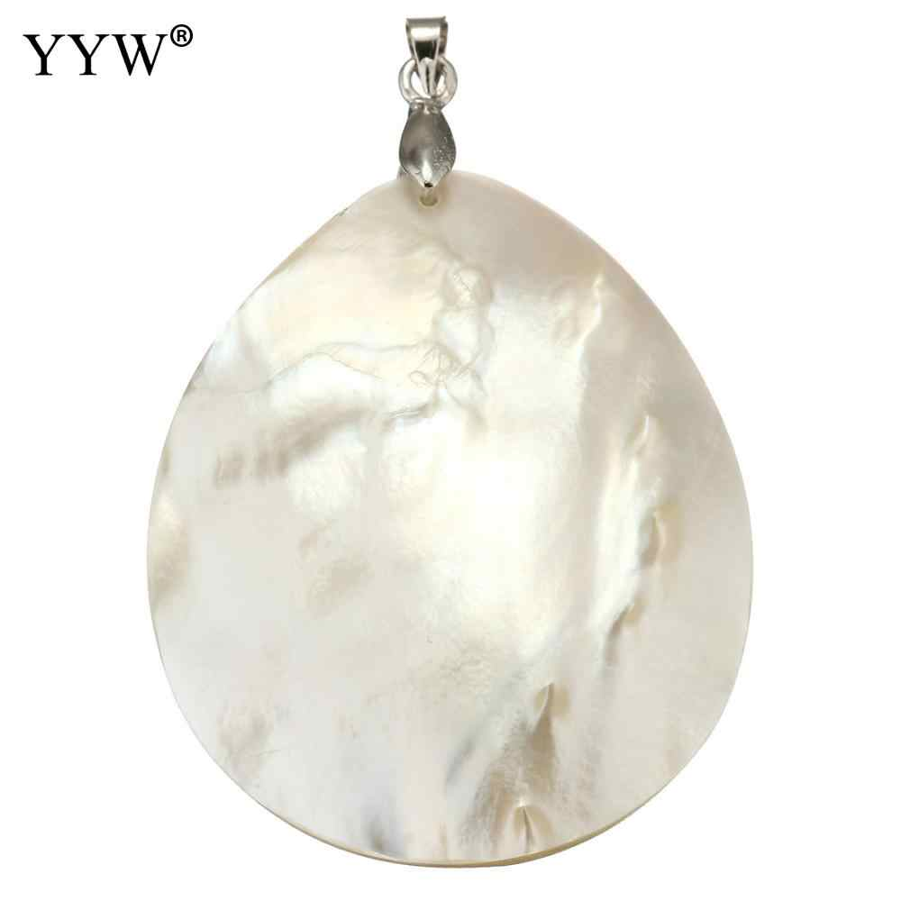 YYW Vintage Natural White Mother of Pearl Shell Pendants Teardrop Silver Plated Abalone Shell Pendants Charms Jewelry Making