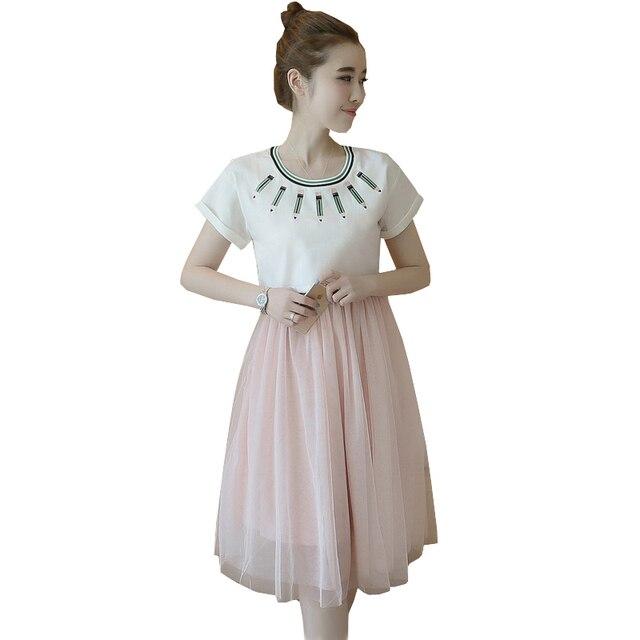 c6cd9977c 2018 Maternidad enfermería vestido casual algodón ropa de lactancia embarazo  patchwork verano elegante moda Tutu Vestidos