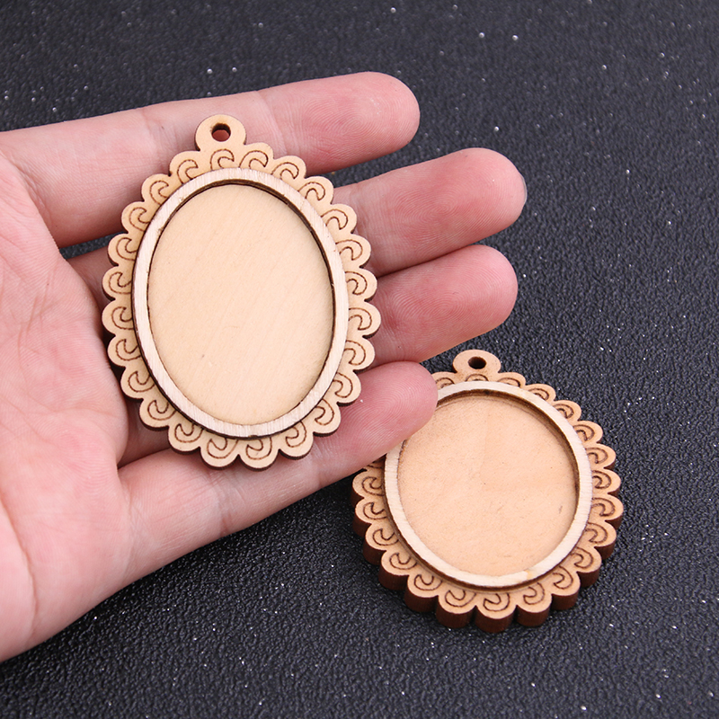 a58d823f5 3pcs 30*40mm Inner Size Two Color Lace Oval Brown Wood Big Cabochon Base  Setting Charms Pendant Necklace Findings Lots Wholesale