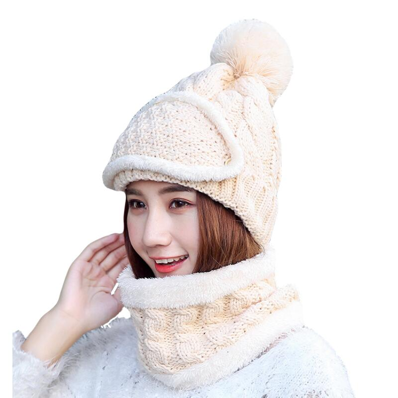 BINGYUANHAOXUAN2018 Winter Beanie Hat Scarf skullies bonnets Sweet Warm Baggy Cap Mask Gorros Winter Hats For Women Knitted Hat in Women 39 s Skullies amp Beanies from Apparel Accessories