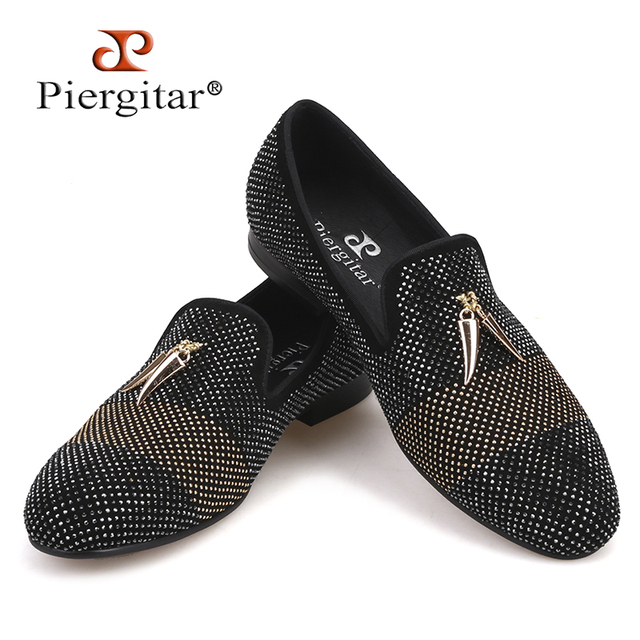 Piergitar 2018 new style Mixed Colors Rhinestone men shoes leather upper and insole Party and wedding Slip-on men's loafers