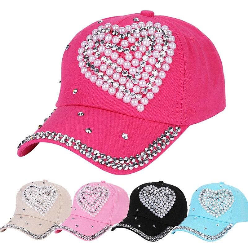 Cotton   Baseball     Cap   Snapback Hip Hop Bone Hat For Women Fashion Heart Rhinestone Ladies Girls Children Hats Adjustable   Caps