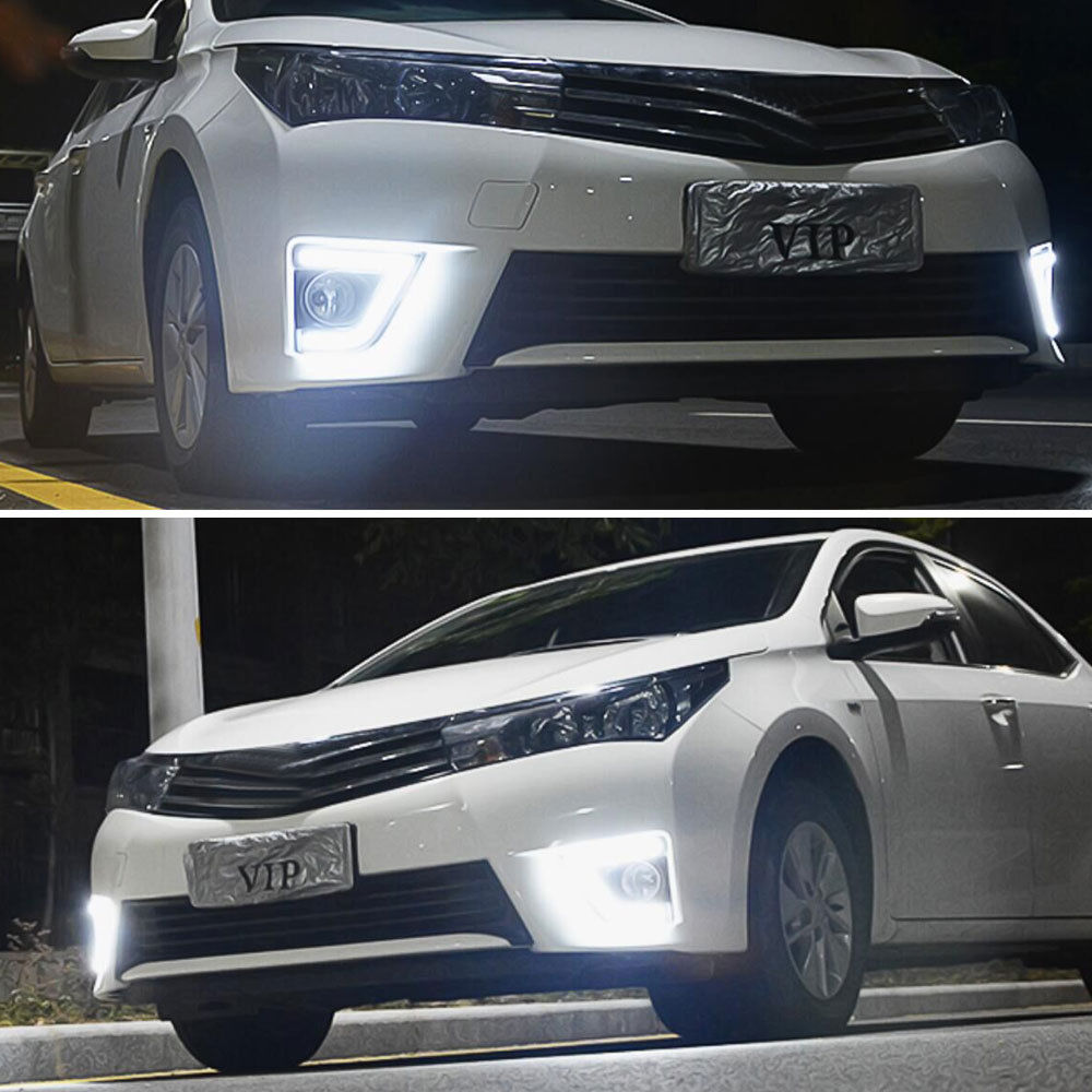 Pair White LED Daytime Running Lights DRL Fit For Corolla Fog Lamps 2013 2014 2015