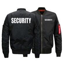 Security Uniform Jacket USA SIZE Mens Bomber Jackets Warm Zipper FLIGHT JACKET Winter thicken Men Coats Outwear Drop Ship