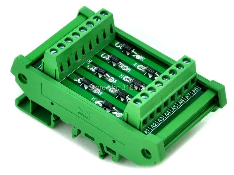 DIN Rail Mount 1 Amp 1000V 8 Individual Diode Module, 1N4007.