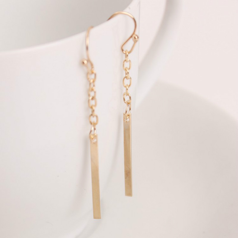 2016 European Style Fashion Earrings Long Straight Chain Ear Hook Earrings Fine Jewelrytrade