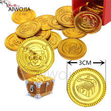 Hot 100&50Pcs Plastic Gold Coins Pirate Treasure Chest Play Money Birthday Party Favors Halloween Game Currency 7ZHH204(China)