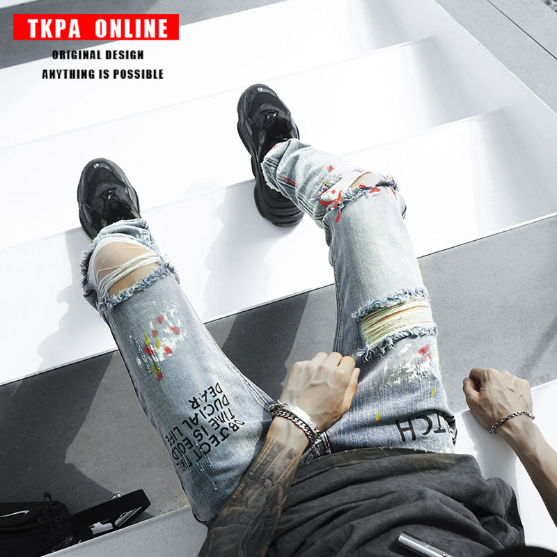 TKPA Male Broken Holes Hip Hop Jeans Pants High Quality Denim Slim Trousers High Street male streetwear Printed Ripped Jeans