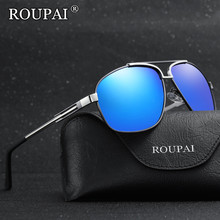 ROUPAI Brand 2017 Luxury Metal Big Frame Men's Polarized Sunglasses High Quality Squared Male Shades Driving Fishing Sun Glasses