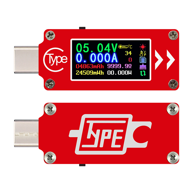 Type-C Color LCD USB Voltmeter Ammeter Module Voltage Current Meter Multimeter Battery PD Charge Power Bank USB Tester Board