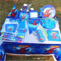 82 stücke Spiderman Tischdecke Strohhalme Tassen Platten servietten Messer Gabel Löffel Superhero Kinder Geburtstag Partei Liefert Dekoration gefälligkeiten