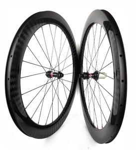 Image 3 - 60mm עומק 25mm רוחב דיסק בלם פחמן גלגלי נימוק מכריע/צינורי Cyclocross אופניים פחמן זוג גלגלים עם 411/ 412CL רכזות 12 K אריג