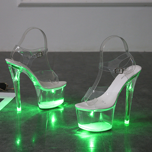 Image 5 - Large Size Sandals Clear Heel Light emitting PVC  Platform Buckle Strap Super High Heels Thin Heel Solid Womens Shoes 2019 New