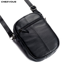 CHEZVOUS Genuine Leather Mobile Phone Bag Case For iPhone Samsung Xiaomi Huawei Bussiness Shoulder Zipper Pouch Universal
