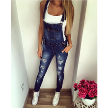waitong walking 2018 Autumn Women Denim Jumpsuit Ladies Long Pants Rompers Overalls