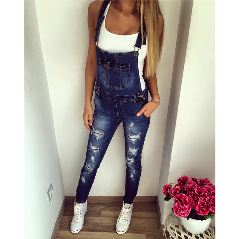 2018 Autumn Fashion Women Denim Jumpsuit Ladies Long Pants Rompers Overalls Jeans Strappy Off Shoulder Bodysuit For Female b50