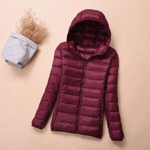 Image 4 - Hooded Down Jackets Winter Women Warm Coat Parka Female Ultralight Thin Down Jacket Duck Long Sleeve Portable Outwear 2020 6XL