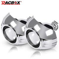 RACBOX 2Pcs 2.5 Inch Universal Bi xenon Projector Len Silver Shroud H1 Xenon HID Bulb For H4 H7 Car Headlight DIY Retrofit Kit