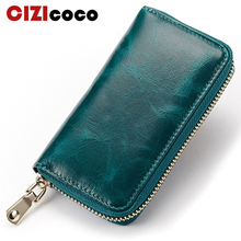 New Key Holder Wallet 100%Genuine Leather Unisex Solid Keys Organizer Bag Car Housekeeper Card