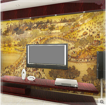 Large Wall Mural Landscape Three dimensional Vintage Chinese Style