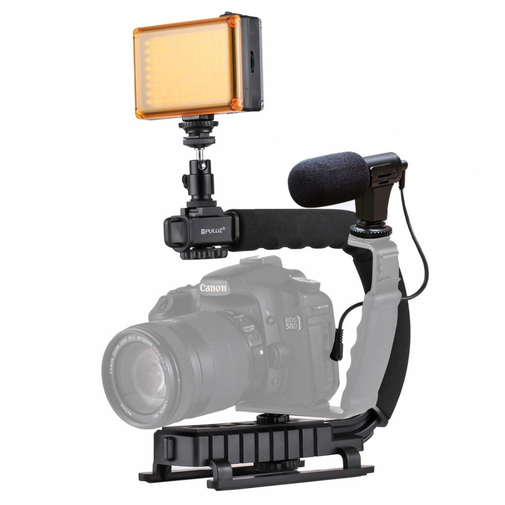 C-a forma di Staffa Stabilizzatore + Luce di Riempimento + Microfono + Testa A Sfera Giunto Cardanico Adattatore Per GoPro Portatile Telaio Per canon Nikon DSLR
