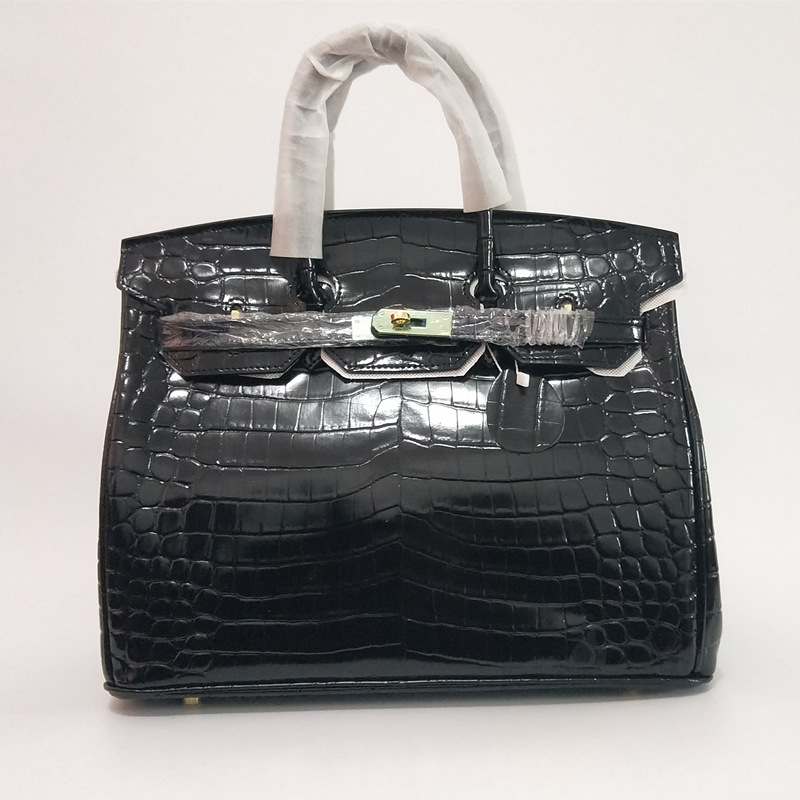 Crocodile Pattern High Quality Genuine leather Shoulder Bags Woman Famous Brand Luxury Handbags With Logo Women Designer Totes цена